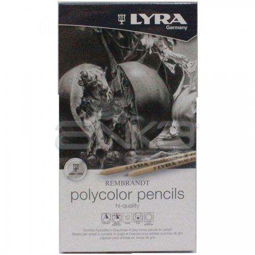 Lyra Rembrandt Polycolor Kuru Boya Kalemi 12li Set Gri Tonlar