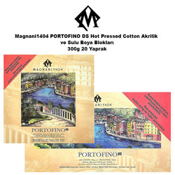 Magnani1404 - Magnani1404 PORTOFINO DS Hot Pressed Cotton Akrilik ve Sulu Boya Blokları 300g 20 Yaprak