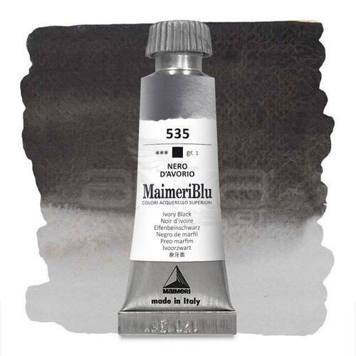 Maimeri Blu Tüp Sulu Boya 12 ml S1 No:535 Ivory Black
