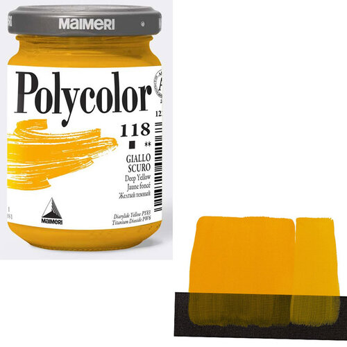 Maimeri Polycolor Akrilik Boya 140ml Deep Yellow 118 - 118 Deep Yellow