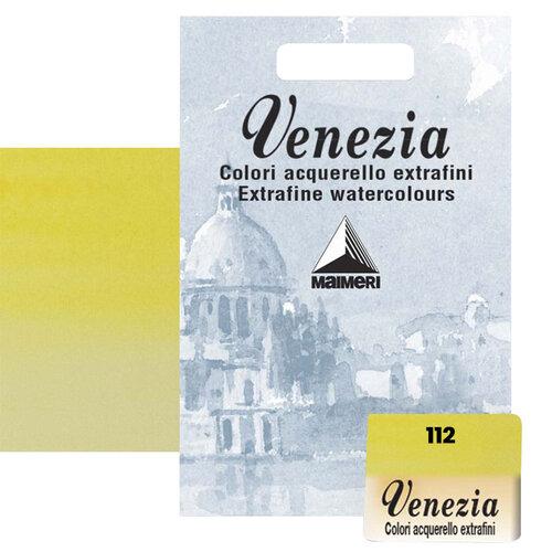 Maimeri Venezia Yarım Tablet Sulu Boya No:112 Permanent Yellow Lemon - 112 Permanent Yellow Lemon