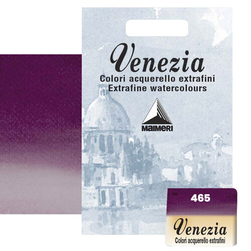 Maimeri Venezia Yarım Tablet Sulu Boya No:465 Permanent Violet Reddish - 465 Permanent Violet Reddish