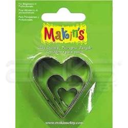 Makins Clay - Makin's Clay Kesici Kalıp Seti Kalp 3 Parça Kod:36007 (1)