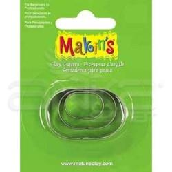 Makins Clay - Makin's Clay Kesici Kalıp Seti Oval 3 Parça Kod:36005