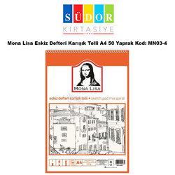 Mona Lisa Eskiz Defteri Karışık Telli A4 50 Yaprak Kod: MN03-4 - Thumbnail