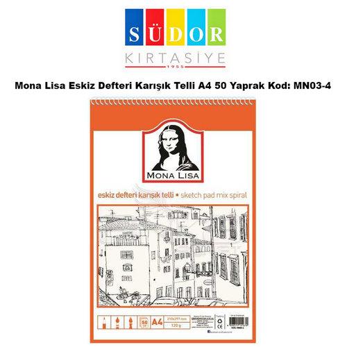 Mona Lisa Eskiz Defteri Karışık Telli A4 50 Yaprak Kod: MN03-4