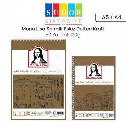Monalisa - Mona Lisa Spiralli Eskiz Defteri Kraft 50 Yaprak 120g