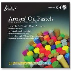 Mungyo - Mungyo Gallery Artists Oil Pastel 24lü Set Metalik + Fosforlu Renkler (1)