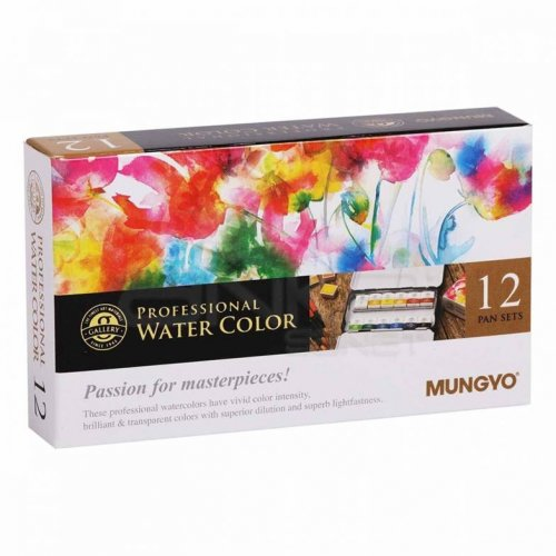 Mungyo Gallery Artists Watercolor Set 12 Renk Yarım Tablet MWPH-12C