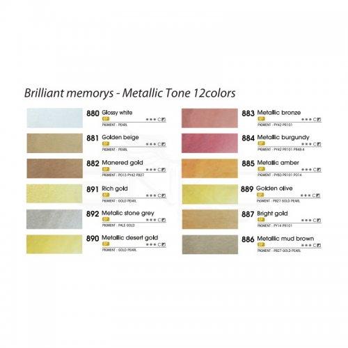 Mungyo Professional Watercolor Brilliant Memories Metalik Renkler 12li
