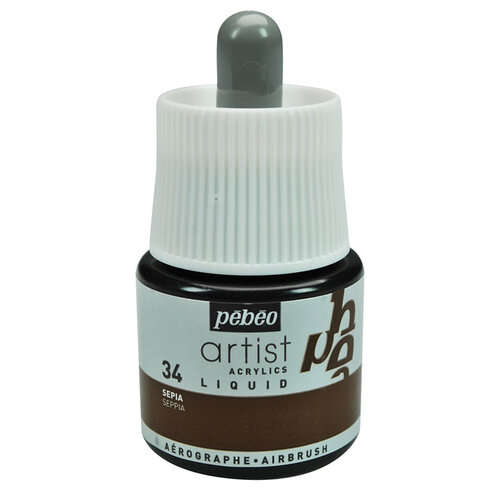 Pebeo Artist Acrylics Liquid Airbrush Mürekkebi 45ml 34 Sepia - 34 Sepia