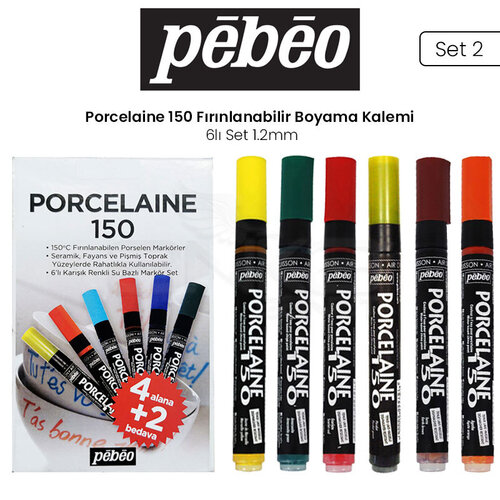 Pebeo Porcelaine 150 Fırınlanabilir Boyama Kalemi 6lı 1.2mm Set 2