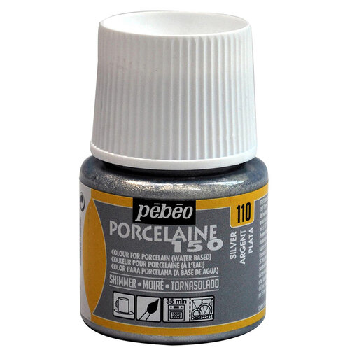 Pebeo Porcelaine 150 Fırınlanabilir Porselen Boyası (Metalik-Işıltılı) 110 Shimmer Silver