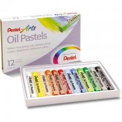 Pentel - Pentel Yağlı Oil Pastel 12 Renk