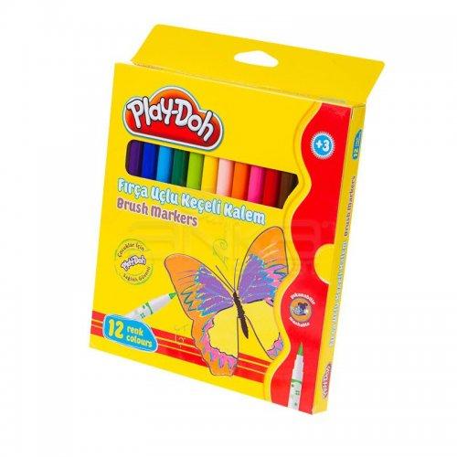 Play-Doh 12 Renk Fırça Uçlu Keçeli Kalem KE009