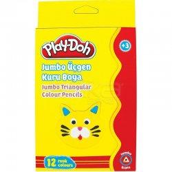 Play-Doh - Play-Doh 12 Renk Jumbo Üçgen Kuru Boya KU008