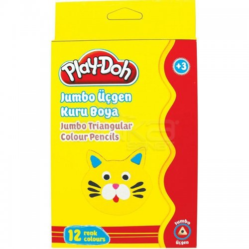 Play-Doh 12 Renk Jumbo Üçgen Kuru Boya KU008