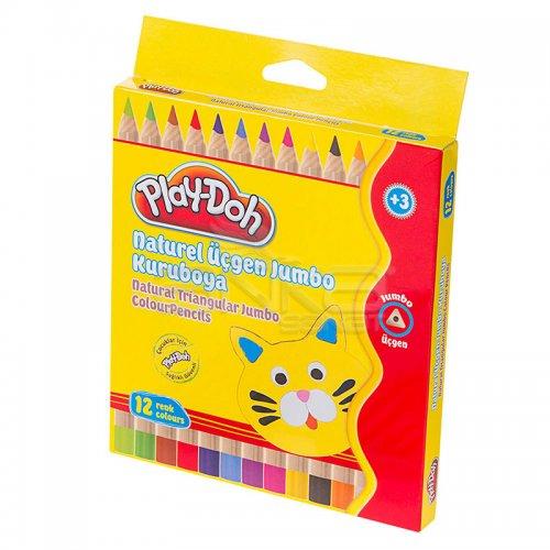 Play-Doh 12 Renk Naturel Üçgen Jumbo Kuru Boya KU009