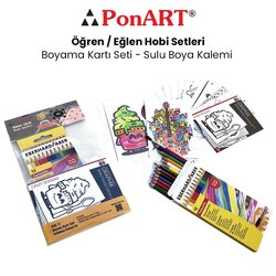 Ponart - Ponart Boyama Kartı Seti - Sulu Boya Kalemi PHS-17