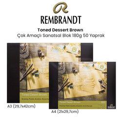 Rembrandt Toned Dessert Brown Çok Amaçlı Sanatsal Blok 180g 50 Yaprak - Thumbnail