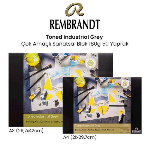 Rembrandt Toned Industrial Grey Çok Amaçlı Sanatsal Blok 180g 50 Yaprak
