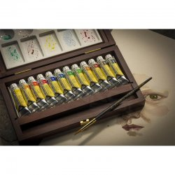 Rembrandt - Rembrandt Water Colour Box Tüp Sulu Boya Seti Ahşap Kutu 12x10ml 05840015 (1)