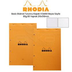Rhodia - Rhodia Basic Bloknot Turuncu Kapak 4 Delikli Beyaz Sayfa 80g 80 Yaprak 210x318mm