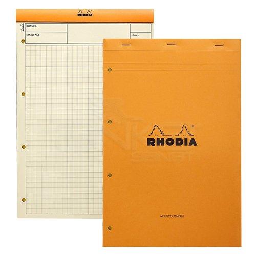 Rhodia Basic Kareli Bloknot Turuncu Kapak Soldan 4 Delikli Sarı Kağıt 80g 80 Yaprak 210x318mm