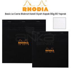 Rhodia - Rhodia Basic Le Carre Bloknot Kareli Siyah Kapak 80g 80 Yaprak