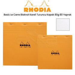 Rhodia - Rhodia Basic Le Carre Bloknot Kareli Turuncu Kapak 80g 80 Yaprak