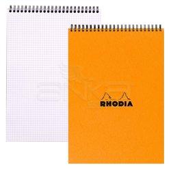 Rhodia - Rhodia Basic Spiralli Bloknot Turuncu Kapak Kareli 80g 80 Yaprak