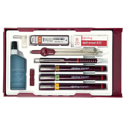 Rotring Isograph Master Set (0.2mm, 0.3mm, 0.5mm) Tikky 0.5 + Pergel