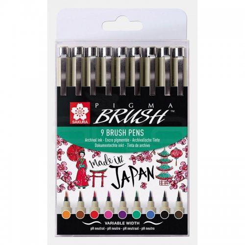 Sakura Pigma Brush Pen 9lu Set