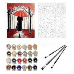 Anka Art - Sayılarla Boyama Seti 40x50cm Kırmızı Şemsiyeli Kız