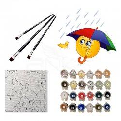Anka Art - Sayılarla Boyama Seti 40x50cm Şemsiyeli Emoji