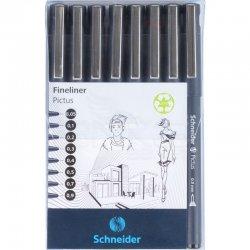 Schneider - Schneider Pictus Fineliner Teknik Çizim Kalemi Seti 8li 197598 (1)