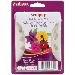 Sculpey - Sculpey Flexible Push Mold Esnek Model Kalıbı Çiçek Ve Yaprak APM75