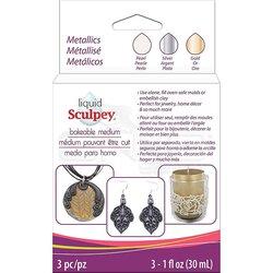 Sculpey - Sculpey Sıvı Polimer Kil 3lü Set 3x30ml Metallics ALSMET1