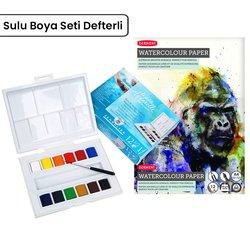 Sennelier - Sennelier Aquarelle Tablet Sulu Boya Seti 12li Defterli