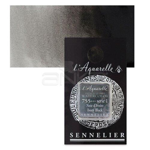 Sennelier Artist Tam Tablet Sulu Boya Yedek Seri 1 No:755 Lamp Black - 755 Lamp Black