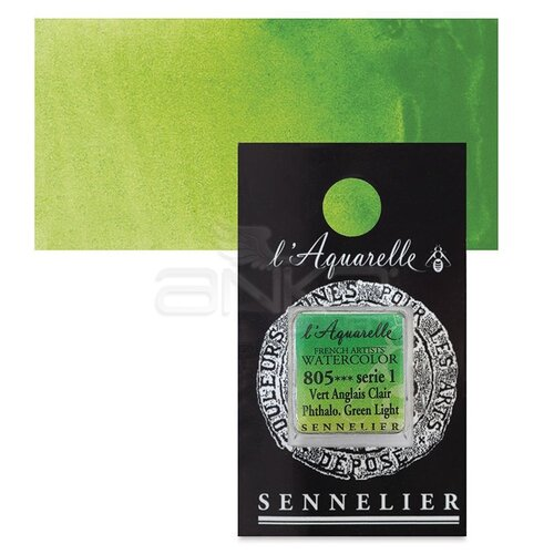 Sennelier Artist Tam Tablet Sulu Boya Yedek Seri 1 No:805 Phthalo. Green Light - 805 Phthalo. Green Light