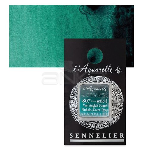 Sennelier Artist Tam Tablet Sulu Boya Yedek Seri 1 No:807 Phthalo. Green Deep - 807 Phthalo. Green Deep