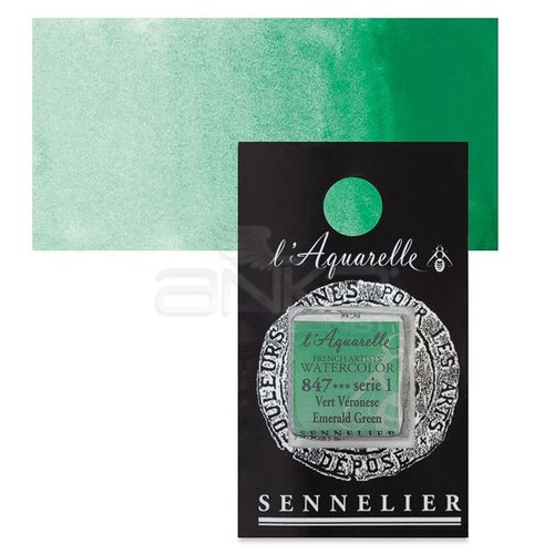 Sennelier Artist Tam Tablet Sulu Boya Yedek Seri 1 No:847 Emerald Green - 847 Emerald Green