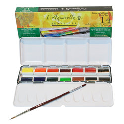 Sennelier Artists Sulu Boya Set 14 Renk Laquarelle French 1/1 Tablet 131615 - Thumbnail