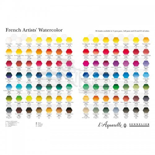 Sennelier Artists Watercolor Set Laquarelle French 12 Renk - Yarım N131613