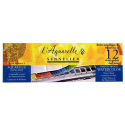 Sennelier Artists Watercolor Set Laquarelle French 12 Renk - Yarım N131613 - Thumbnail