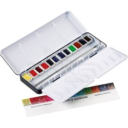 Sennelier - Sennelier Artists Watercolor Set Laquarelle French 12 Renk - Yarım N131613 (1)