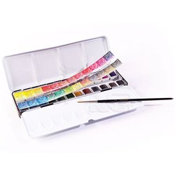 Sennelier - Sennelier Artists Watercolor Set Laquarelle French 24 Renk - Yarım N131606 (1)