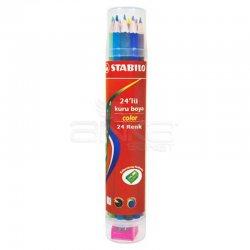 Stabilo - Stabilo Color Kuru Boya 24lü Plastik Tüp (Kalemtıraşlı) 1224/77-PT