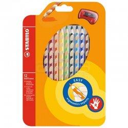 Stabilo - Stabilo Easycolors Ergonomik Kuru Boya 12 Renk+Kalemtıraş Askılı Paket (Sağ El İçin) 331/12